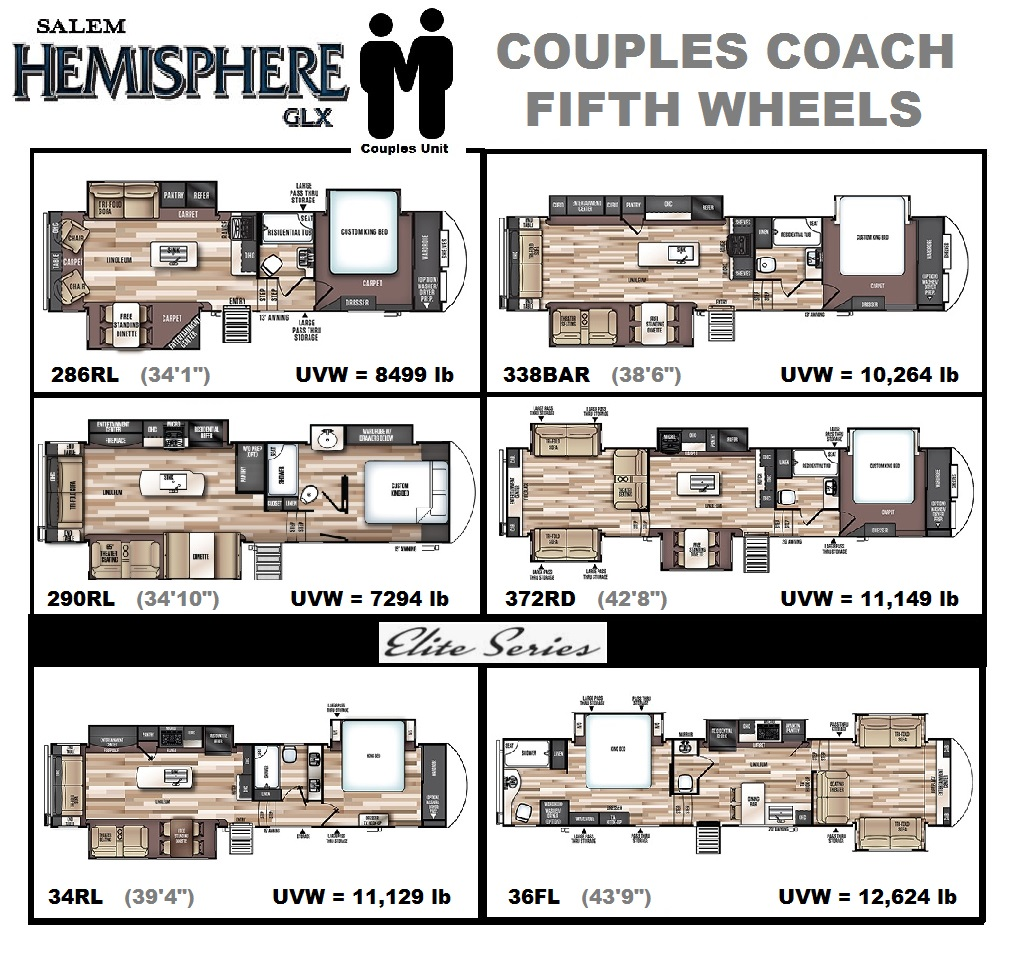 2020 Salem Hemisphere fifth wheel couples units