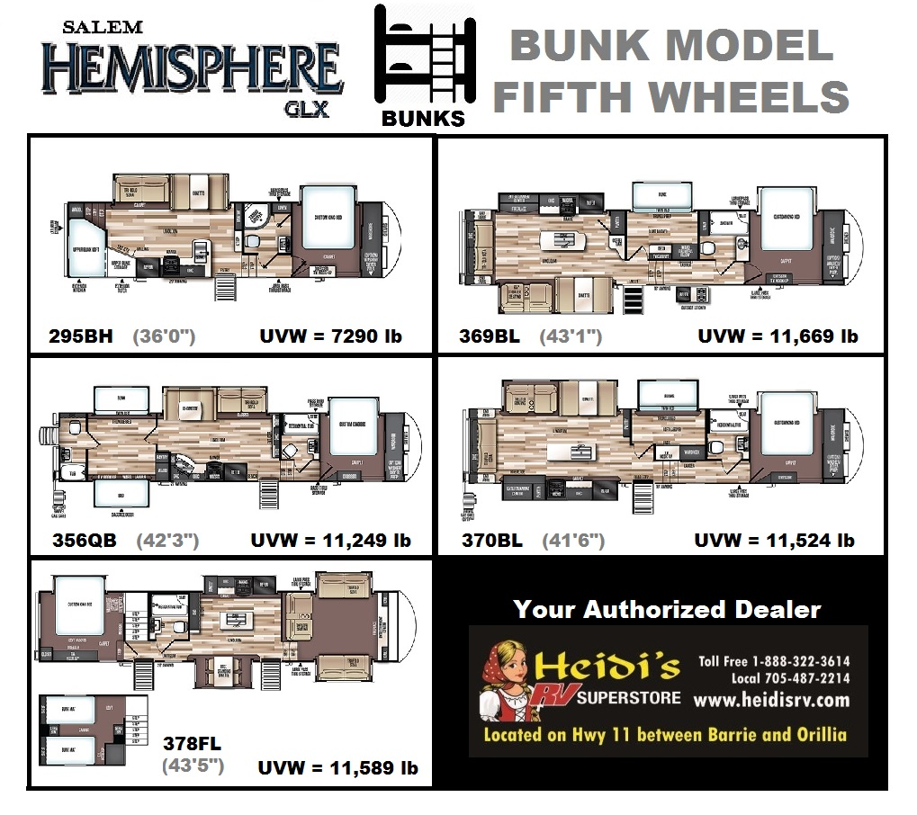 2020 Salem Hemisphere fifth wheels with Bunks
