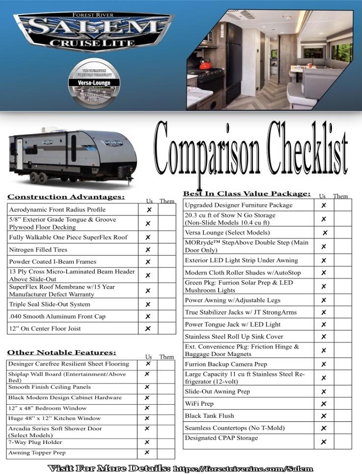 2021 Cruise Lite Comparison Checklist