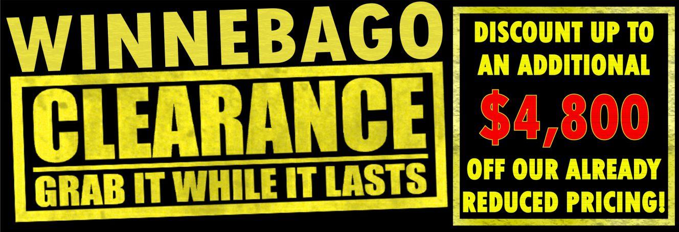 winnebago clearance - Slide Image