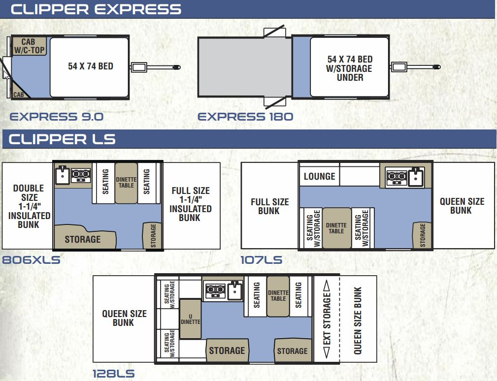 Clipper Express and LS Layouts